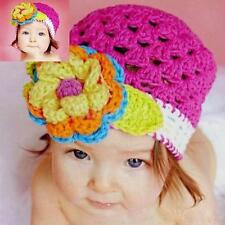 Cute Gorgeous Infant Baby Toddler Cotton Knit Flower Beanie Crochet Hat Cap Sz M