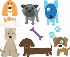 Dogs set of 6 colour VINYL wall stickers decals kid's room home decor pet puppy