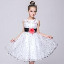 Flower Girls Bridesmaid Dress Princess Wedding Party with Flower Bowknot Dot