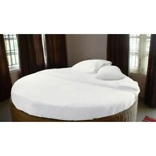 1500TC Egyptian Cotton ROUND BED SHEET SET Sateen Solid White