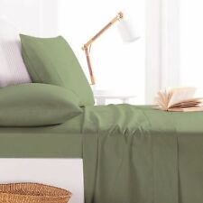 800TC Egyptian Cotton 1pc  FITTED SHEET Sateen Solid Moss