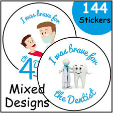 Brave For the Dentist Stickers 144 30mm children labels praise reward dental