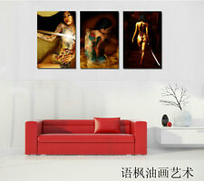 Oil Painting HD Print Wall Decor Art on Canvas,Tattoo girl (Unframed) 3PCS