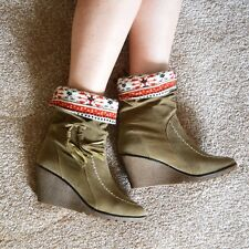 Womens Ladies Fashion Wedge Heels Comfortable Faux Suede Ankle Casual Boots