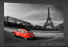 Oil Painting HD Print Wall Decor on Canvas,Red car Eiffel Tower .(Unframed) 3PCS