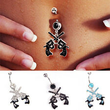 Gun Dangle Belly Ring CZ Gem Pierced Navel Stainless Steel Body Piercing