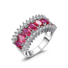 JewelryPalace  5.1ct Created Red Ruby Cocktail Ring Genuine 925 Sterling Silver