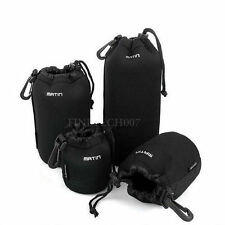 Soft Neoprene DSLR Camera Lens Pouch Bag Case Protector Waterproof Black S - XL