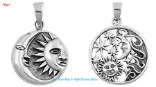 Sterling Silver 925 PRETTY SUN MOON DAY & NIGHT PENDANT (W/ FREE BOX CHAIN-015)