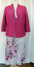 JACQUES VERT JEWEL RNGE SILVER/MAGENTA SILK DEVORE SKIRT/TOP L1K MAGENTA JACKET