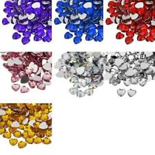200pcs/12mm Heart Shape Beads Decors Flat Back Acrylic Rhinestone Gems DIY Craft