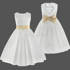 Flower Girl's Dress Lace Princess Pageant Wedding Bridesmaid Graduation SZ 6-14