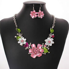 Fashion Jewelry Sets Women's Flower Leaves Crystal Rhinestone Necklace & Earring