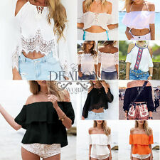 Womens Sexy Off Shoulder Loose Blouse Ladies Casual Cami Strap Crop Top T-Shirts