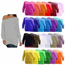LADIES PLUS SIZE OFF SHOULDER BAGGY BATWING LONG SLEEVE SLOUCH DRESS TOP 8-26