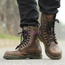 Mens Vintage Lace Up Military Rock Punk Combat Motorcycle High Top Boots Shoes