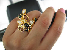 New Rare Cluster Gold Plated Chunky Arty Dots Knuckle Armor Ring in sizes 7 or 8
