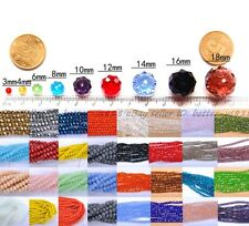 4MM/6MM/8/MM/10MM Bicone Faceted Rondelle Crystal Glass Loose Spacer Beads