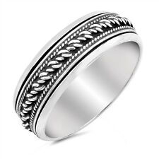 Sterling Silver 925 LADIES MENS HANDMADE BALI SPINNER DESIGN RING 7MM SIZES 6-13
