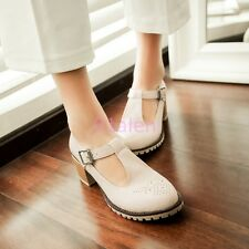 Autumn Womens Girls Sweet Brogue Vintage Mary Jane T Bar Buckle Shoes Plus Size