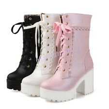 Hot Spring Womens Lace Up Platform Mid Calf Gothic Boots Sweet Shoes Plus Size