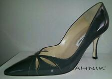 Manolo Blahnik BUTTERFLYMO Classic Cut Out Grey Shoes Pumps EU 40 US 9 90 mm