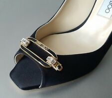 JIMMY CHOO LEE Black Satin Logo Crystal Sexy Slingback Shoes EU 41 US 10