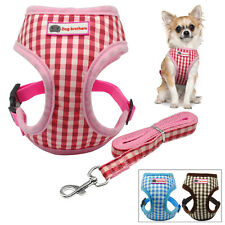 Classic Grid Puppy Small Dog Vest Harness and Leash Set for Chihuahua Toy Poodle