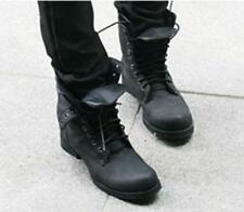 Men Boys Motorcycle Leather Ankle Boots Military Combat Boots High Top Shoes