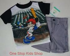 MICKEY MOUSE Boys 12 18 24 Months Set OUTFIT Shirt Shorts DISNEY Baseball