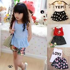2Pcs Newborn Baby Kids Girls Clothes T-shirts Tops +Pants Skirt Sets Outfits