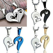 Fashion necklaces Couple Stainless Steel Love Heart Jigsaw Pendant Necklace