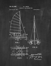 Sailboat Of The Catamaran Type Patent Print Chalkboard