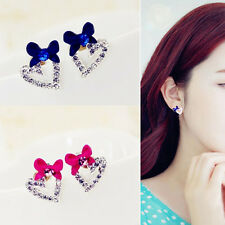 Cute Gift Women Rhinestone Love Heart Earrings Fashion Bow Ear Studs Earring2016