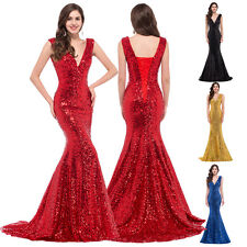 2016 New Sequins Long Prom Formal Evening Party Cocktail Wedding Dress Ball Gown