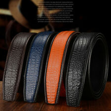 New 3.5CM Mens Crocodile Skin Leather Belt For Automatic Buckle Waist Strap Belt