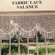 """Valance Multiple Colors Size 60"""" x 19"""" Polyester Fabric Lace Curtain White Pink"""