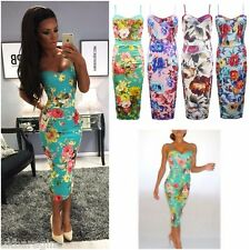 Womens sexy Multi Colour Floral Print Strapy Bodycon Midi Dress Plus Size8/26
