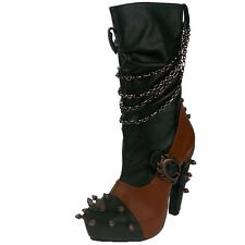 Women's HADES Faline High Heels Studded Mid Ankle Platform Boots Chains