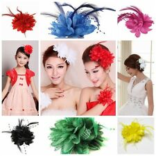 Women Flower Feather Bead Corsage Hair Clips Fascinator Hairband Pin  Accessory