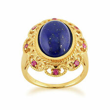 Gold Plated Sterling Silver 5.30ct Lapis Lazuli & 0.20ct Rhodolite Cocktail Ring