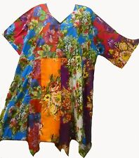 Nwt FUNKY STUFF hippy patch floral cotton hanky TOP TUNIC DRESS 4X Free ship