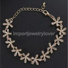 Fashion Crystal Snowflake Charm Chain Bangle Bracelet Cuff Gift-Gold/Silver