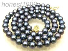 AAA+ round 6.5mm peacock black akoya pearl necklace 14K solid yellow gold