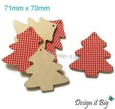 10x Red Christmas Trees with Hole Large Wooden Shapes DIY Xmas Decorations Tags