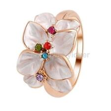 Elegant Women Oli Painting Flower Multicolor Crystal Rhinestone Finger Ring Gift