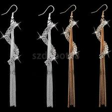 Womens Charm Long Tassels Chain Drop Dangle Eardrop Earrings Crystal Jewelry