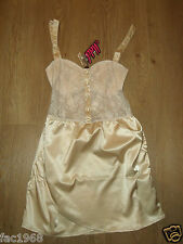Motel Kate Women's Lace Latte Sateen Look Skirt Party Mini Dress Size M New