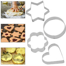 Stainless Steel Fancy 4 Frame Cookie Cutter Fondant Cake Mold Mould Set 12Pcs