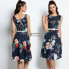 Vintage Style Women O-Neck Sleeveless Floral Print Swing Party Dress With Belt